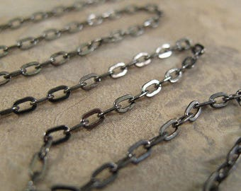 One Foot of Gunmetal Cable Chain, One Foot / 12 Inches of 2.1mm Gunmetal FLAT Cable Chain for Making Jewelry (40099169)