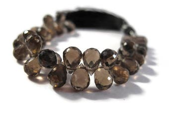 Smoky Quartz Beads, Gemstone Briolettes, 4 Inch Strand of Natural Gemstone Briolettes for Making Jewelry, 6.5mm x 5mm - 8mm x 5mm (B-Sq6e)