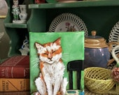 original cat art, sandy mastroni,  5 x 7 original acrylic painting ,  gallery wrap canvas, cat by chair
