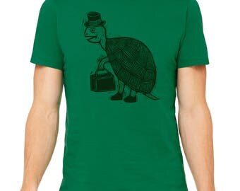Tophat Turtle Hand Carved   Woodblock Printed T Shirt