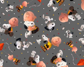 """Quilting Treasures, """"Good Friends"""" Charlie Brown and Snoopy Toss on Grey,  LAST 34 Inches"""