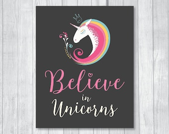 Believe in Unicorns 8x10 Printable Unicorn Birthday Decoration Sign - Hearts & Rainbow - Instant Download - Matching Invitation Available