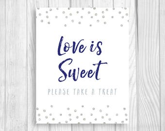 Printable Love is Sweet Please Take a Treat 8x10 Bridal Shower or Wedding Favor Table Sign - Navy Blue and Silver Glitter Polka Dots