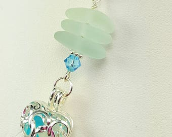Sea Glass Jewelry Sea Glass Pendant Sea Glass Necklace Filigree Sea Glass Pendant Turquoise Sea Glass - N-538