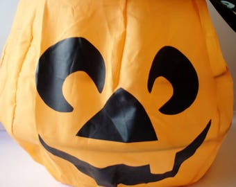 Halloween - Pumpkin  Childrens - Trick or Treat -  Bucket -  NylonFabric - wire -  Black Handle- Features a Smiling Mouth!