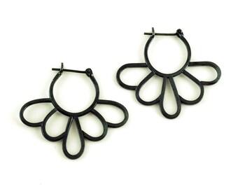 Dark Daisy Hoops - Statement Earrings in Black Oxidized Sterling Silver