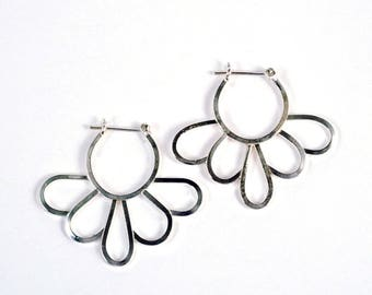 Daisy Hoops - Statement Floral Earrings in Hypoallergenic Sterling Silver