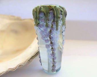 Light Aqua Wisteria Cone Bead Handmade Lampwork