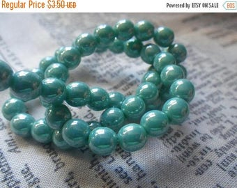 SALE 30% Off Opaque Turquoise Luster Round 6mm Druk Beads 50 Pcs
