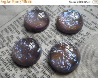 SALE 30% Off Tanzanite Opal with Dragons Breath 18mm Round Glass Cabochons 2 Pc