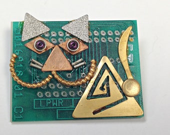 Recycled Circuit Board Cheshire CAT Brooch Vintage Metal CB230G
