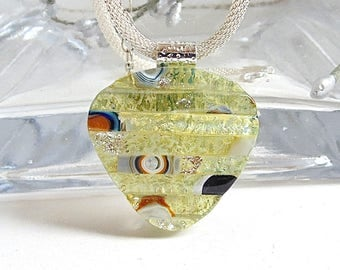 Light Gold Necklace, Amber, Dichroic Glass Pendant, Fused Glass Jewelry, One of a Kind, Murrini, Necklace Included, A12