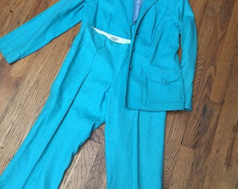 Vintage turquoise PRIOR Country Music Singer Ladies Western Suit jacket and pants cowgirl outfit Nashville hillbilly hollywood 1960s