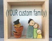 YOUR Custom Family in 6x6 wooden shadow box frame