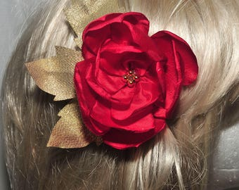 Red Satin gold leaves hair/hat flower.. formal,  pearls, wedding, bridesmaids, flower girl,pageant..  clip on back