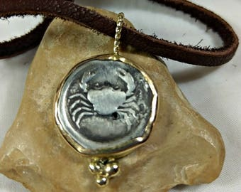 Ancient Greek Coin Pendant, solid 18 kt gold ancient coin necklace , Ancient coin Jewelry, Cancer horoscope necklace