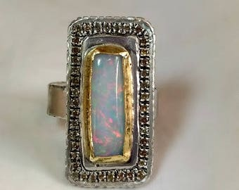 Opal ring, Multi stone ring, Opal and Sapphire Statement Ring, Yellow Sapphire, opal and silver  and 22 kt gold halo ring,