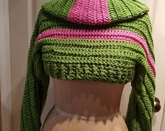 Crochet Shrug with Matching Infinity Scarf - Pink and Green - AKA - Sleeves - Custom Colors
