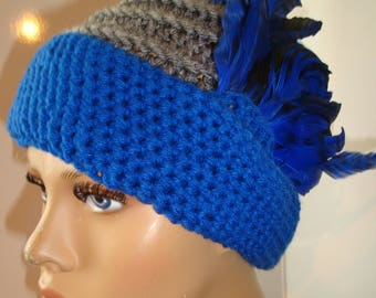 2 tones - Grey and Royal Blue  Cloche Hat with Feathers - Crochet Hat - Royal Blue and Grey Hat - Crochet Cap