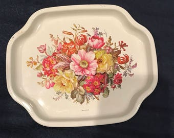 English floral tin try