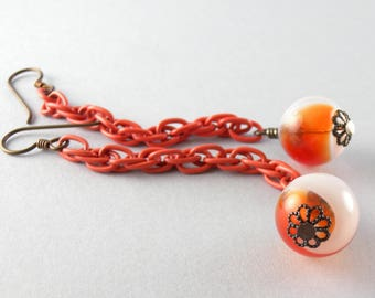 Calico Orange and White Glass Ball and Chain Earrings with Free USA Shipping