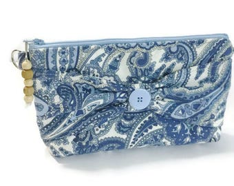 make-up toiletry travel bag bow clutch home decor fabric blue paisley