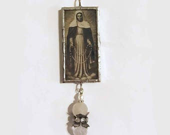 Soldered Charm, Religious Pendant, Holy Mother, Christian Jewelry, Silver Charm, Christmas Ornament, Virgin Mary Charm, Handmade Pendant