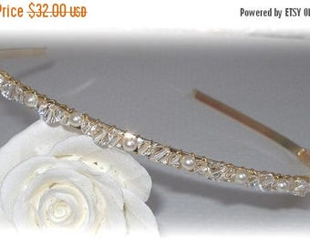 ON SALE 20% OFF Slim Swarovski Crystal and Pearl Band in Gold