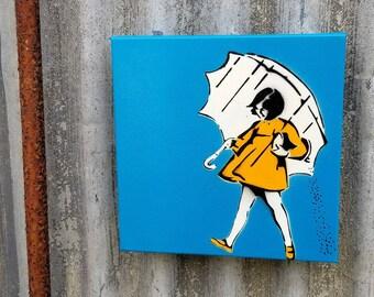 Salt Girl  Mixed Media Graffiti Art Painting on Canvas Original Art on Home Decor Pop Art Gallery Vintage Advertising Sign