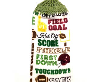 Football Words Hand Towel With Tea Leaf Green Crocheted Top