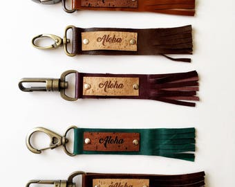 Leather Tassel Key Fob