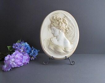 Vintage Large Plaque, Victorian Plaque, Cameo Plaque, Victorian Décor, Shabby Cottage Chic Decoration