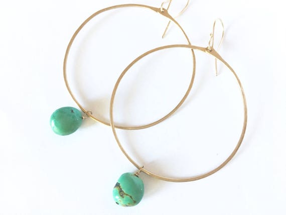 Large gold hoops with turquoise