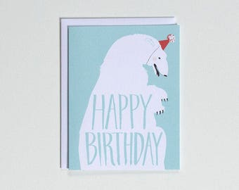 Happy Birthday Card - Polar Bear with Party Hat note card