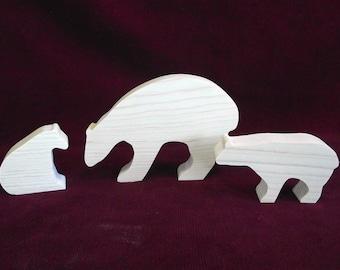 Polar Bear Family:  Set of Three Unfinished Pine Cutouts
