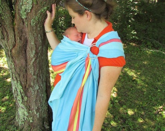 Wrap Conversion Ring Sling Baby Carrier, Lenny Lamb Corfu bamboo blend- Pleated or Gathered Shoulder - DVD included, summer, soft, cool