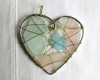 Pink  Sky Blue and Green Beachy Suncatcher Ornament