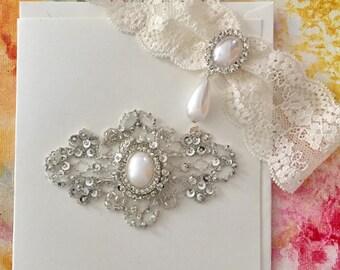 French Lace Wedding Garter with Wedding Shower Bridal Card