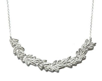 Vine lace bib necklace in solid sterling silver