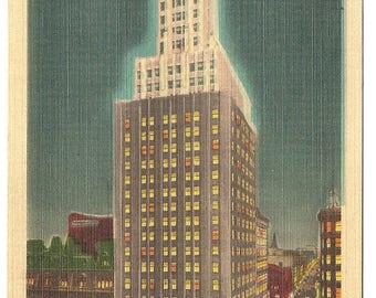 Vintage 1920's -1940's Linen Postcard Used Rand Building by Illumination, Buffalo, NY