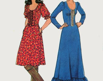 Vintage 1970s Boho Romantic Lace-Up Dress w/ Scoop Neckline in Two Lengths Sewing Pattern Simplicity 7327 Size 16 Bust 38 UNCUT