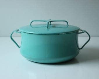 Vintage turquoise Dansk lidded stock casserole pot 2 quarts