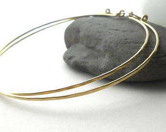 Extra Large Gold Hoop Earrings, Solid Brass Hammered Hoops, 3 inch, Statement earrings
