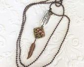 Mama bear spoon handle charm necklace