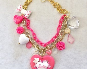 Hot Pink Sparkle Multi Layered Charm Kawaii Necklace