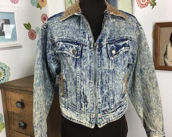 Vintage Denim Jacket, Acid Wash Jeans, Fitted Jean Jacket by Prezzia 1980's Style Pop