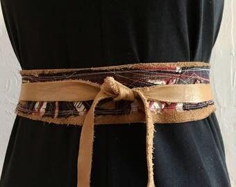 Ancestry Cloth Belt #39 - One of a Kind Wearable Fine Art, Dawn Patel Art, leather belt, repurposed leather, tie sash belt, decorative knot
