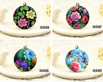 1pcs Vintage Retro Flower Necklace , Retro Bronze Brass Retro Floral Locket Charm Pendant 32mm 25mm 20mm Locket
