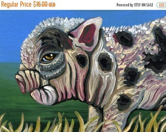 Dog Days of Summer ACEO ATC Micro Spotted Pig Pet Original Gouache Painting Farm Art-Carla Smale
