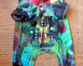 Dog Days of Summer OOAK Tie Dye Multicolor Cotton Pajamas Long Johns Onsie Size XXL for Small Dog -Carla Smale